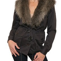 Women`s Gentle Fawn Measure Anorak with Faux Fur Collar in Grey