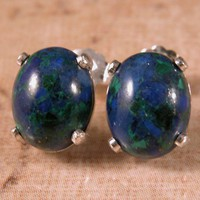 Azurite Oval Cabachon Sterling Silver Earring Posts - 8x10mm