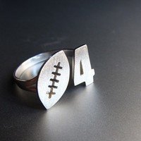 Football & Custom Number Ring - Handmade silver ring