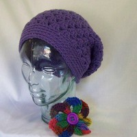 Shelly Shell Crochet Slouchy Beanie Tam Beret Purple Women Teen Crochet Gift