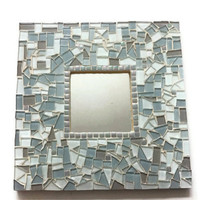 Mosaic Wall Mirror, Square, Neutral Beach Decor