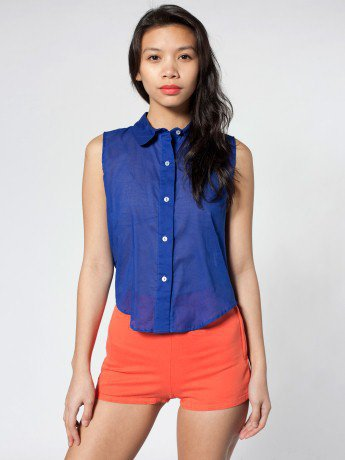 Sleeveless Lawn Crop Button-Up | Crop Tops | Women's Collared Shirts | American Apparel