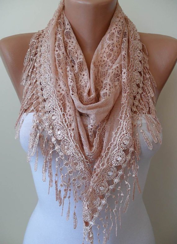 Salmon Scarf - Laced Fabric - with Salmon Trim Edge --- Triangular -
