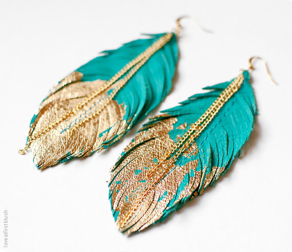 Feather Earrings - Leather Feather Jewelry - Dipped in Gold - Turquoise Leather