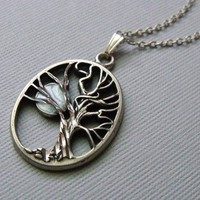 Tree Necklace, Tree And Moon Necklace, Silver Tree Necklace, Tree Pendant