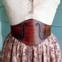 The MUSE.........Wide Mahogany Violin F-Holes Leather Waist Cinching Buckle Back Belt