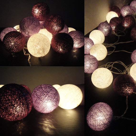 20 Mixed Purple Tone Handmade Cotton Balls Fairy String Lights Home Decor