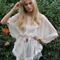 Boho Crochet Trim Poncho Top | Party Top | Chic Crochet Poncho Kaftan Sheer | Bohemian (Boho) / Hippie | UsTrendy