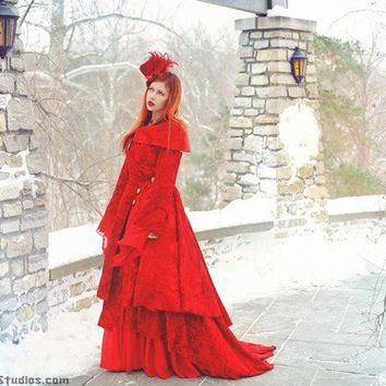 Annabel Romantic Velvet and Chiffon Gown and Coat Set Custom