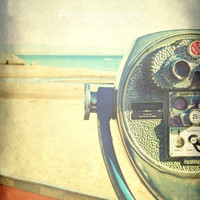"Viewfinder Photo. ""Summer View"". 8.5x11inch Photo Beach. Ocean. Vintage. Blue. Orange. Brown. Sand. Summer. Retro. California."
