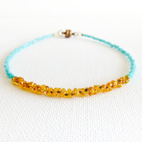 Turquoise gold topaz layer anklet/ bracelet. tiny seed beads beaded jewelry. Dainty beaded  Summer jewelry Unique Gift