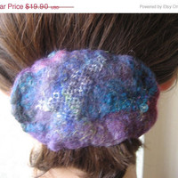 SALE Nuno Felted Hair Barrette Clip: Violet, Turquoise, Purple. Elegant. Wool and Vintage Silk. Freeform