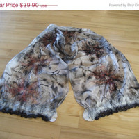 SALE Nuno Felted Scarf Shawl Wrap: Wool, Hand Painted Silk, Lace, Flower decoration. OOAK.  Black White Grey