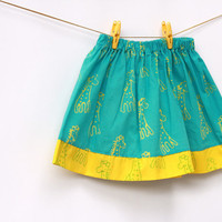 Giraffe Blue and Yellow Toddler Girls Skirt