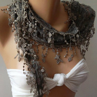 Grey / Elegance  Shawl // Scarf with Lacy Edge --