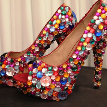 SALE,High Heel Crystal Multicolour Beads Platform Shoes, size 8 US / 39 European / 6 UK