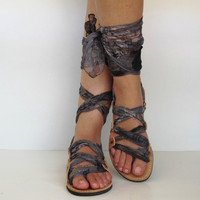 Leather Sandals, handmade, Unique with silk scarf straps  &quot;APHRODITE&quot; AS09 All sizes Available