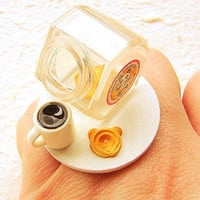Miniature  Food Ring Coffee Cookie Jar Miniature Food Jewelry