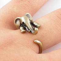 Gold Elephant Wrap Ring