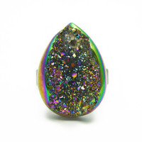 Titanium Quartz Rainbow Druzy Ring Teardrop Pear Shape n.1