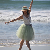 CIJ Sale-- soft mint  green tulle tutu skirt.  A short  tulle lined custom length skirt. Ready to ship in size small.