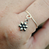Adjustable Wire Wrapped Flower Charm Ring