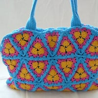 Summer crochet handbag in yellow, blue and fuchsia pink - handmade