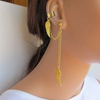 Chain Ear Cuff Gold Angel Wings Cartilage Non Pierced
