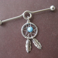 Industrial Piercing Barbell Dream Catcher Charm Dangle Turquoise Beaded