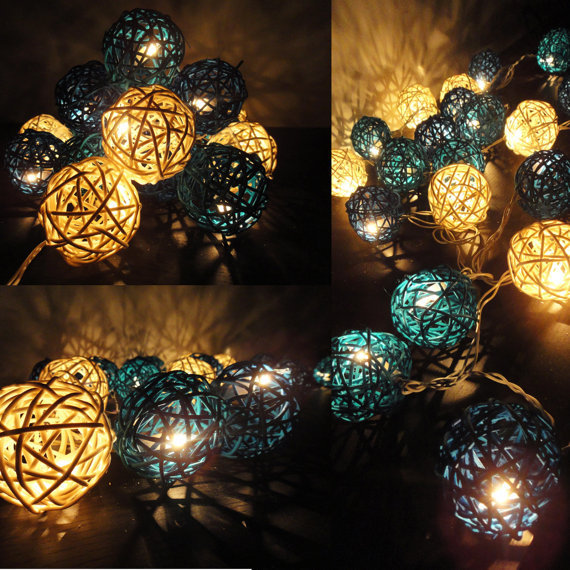 20 Mixed Sky Lantern Tone Handmade Rattan Balls Fairy String Lights Home Decor