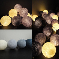 20 Mixed Gray Clound Tone Handmade Cotton Balls Fairy String Lights Home Decor