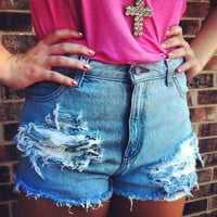 Light Denim Destroyed High Waisted Shorts