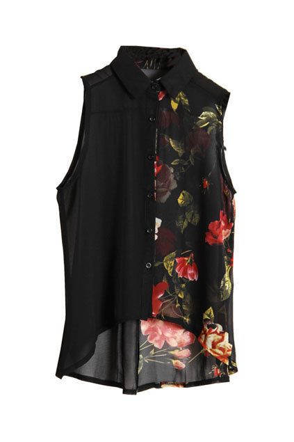 Flower Printed Black Chiffon Shirt