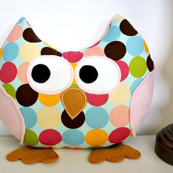Stuffed Owl Plush Pillow Owl Toy Accent Kids Bed Pillow Stuffed Animal Owl Nursery Decor Polka Dots and Stripes