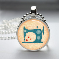 Round Glass Bezel Pendant Vintage Sewing Machine Pendant Sewing Machine Necklace Photo Pendant Art Pendant With Silver Ball Chain (A3915)