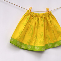 Toddler Skirt Yellow and Green Giraffe with Elastic waist