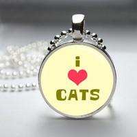 Glass Pendant Bezel Pendant I Love Cats Pendant Cat Necklace Photo Pendant Art Pendant Ball Chain (A3922)