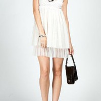 White Sleeveless Baby Doll Lace Top Dress with Tulle Skirt