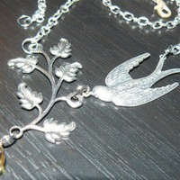 Ava Silvertone sparrow and branch necklace with by lylahgrace