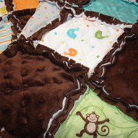 Baby Boy Toddler Rag Quilt Blanket - brown, blue, white - monkeys, trucks - &quot;Grow With Me&quot;