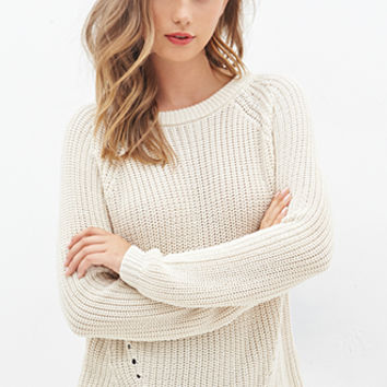 FOREVER 21 Cutout Purl Knit Sweater Cream