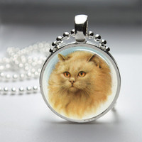 Round Glass Pendant Bezel Pendant Cat Pendant Cat Necklace Photo Pendant Art Pendant With Silver Ball Chain (A3928)
