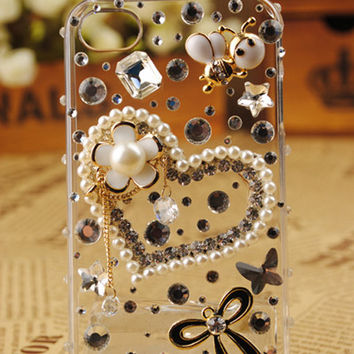 Gullei Trustmart : Heart Crystal Pearls Transparent iPhone4 Shell [GTM00524] - $44.00 - Couple Gifts, Cool USB Drives, Stylish iPad/iPod/iPhone Cases & Home Decor Ideas