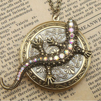 Steampunk Lizard Locket Necklace Vintage Style Original Design