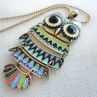 SHOP SALE 50% OFF Colorful Owl Necklace -- Antique Brass, Enameled Pendant, Long Necklace