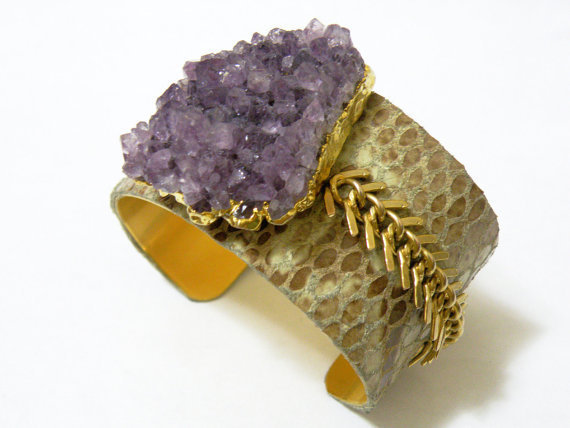 Amethyst  Leather Cuff
