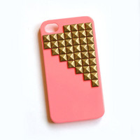 Pink cellphone cover with Gold Studs, cellphone cover, Hard case, iPhone Cover, cover for Android,trendy, iPhone 4s, iPhone 4,