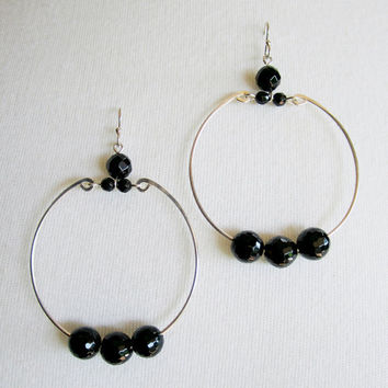 Sterling silver hoop earrings faceted black onyx earrings