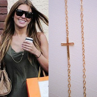 Long Gold Sideways Cross Necklace - Celebrity Inspired Jewelry