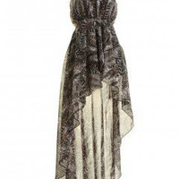 LOVE Feather Print Chiffon Asymmetrical Maxi Dress - Love